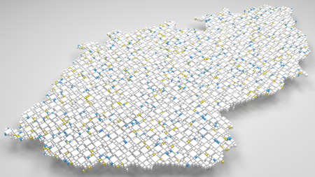 3D Map of Czech Republic - Europe | 3d Rendering, mosaic of little bricks - White and flag colors. A number of 4451 little boxes are accurately inserted into the mosaic