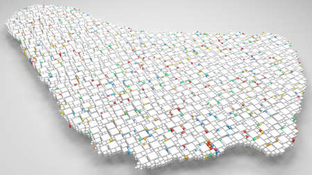 3D Map of Barbados - America | 3d Rendering, mosaic of little bricks - White and flag colors. A number of 4010 little boxes are accurately inserted into the mosaic. Flag colors