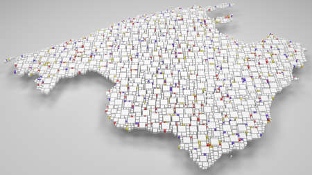 3D map of Majorca - Spain | 3d Rendering, mosaic of little bricks - White and flag colors. A number of 4037 little boxes are accurately inserted into the mosaic. Flag colors Reklamní fotografie - 108301252