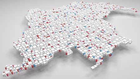 3D-Karte von Kolumbien - Amerika | 3D-Rendering, Mosaik aus kleinen Ziegeln. Eine Anzahl von 3009 kleinen Kästchen sind akkurat in das Mosaik eingefügt. Flaggenfarben Standard-Bild