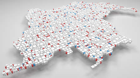 3D Map of Colombia - America | 3d Rendering, mosaic of little bricks. A number of 3009 little boxes are accurately inserted into the mosaic. Flag colors