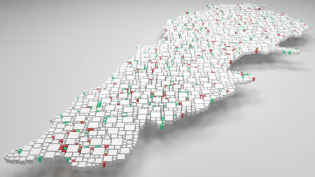 3D Map of Lebanon - Middle East   3d Rendering, mosaic of little bricks - White and flag colors. A number of 3168 little boxes are accurately inserted into the mosaic. Flag colors Banque d'images