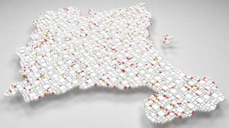 3D Map of the Chartered Community of Navarre - Spain   3d Rendering, mosaic of little bricks - White and flag colors. A number of 4779 little boxes are accurately inserted into the mosaic. Flag colors Banque d'images