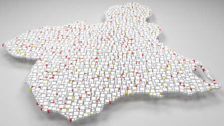 3D Map of the Region of Murcia - Spain   3d Rendering, mosaic of little bricks - White and flag colors. A number of 4291 little boxes are accurately inserted into the mosaic. Flag colors