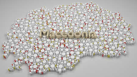Map of Macedonia - Europe   3d Rendering, mosaic of little cylinders - White and flag colors. A number of 3707 little barrels are accurately inserted into the mosaic. Text on the top of the mosaic Banque d'images