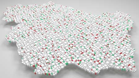 Region of Umbria - Italy | 3d Rendering, mosaic of little bricks - White and flag colors. A number of 5382 little boxes are accurately inserted into the mosaic