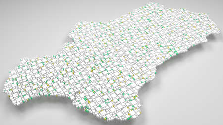 Map of Andalusia - Spain   3D Rendering, mosaic of little bricks - White and flag colors. A number of 4830 little boxes are accurately inserted into the mosaic