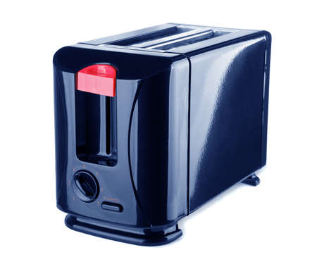Dark blue toaster on a white background