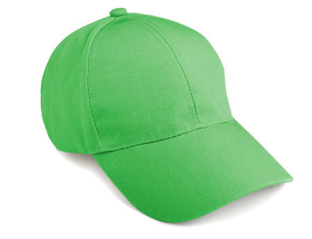 Green baseball cap isolated on a white background