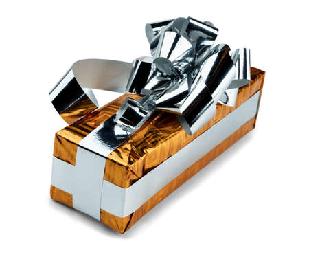 Orange gift with a silver bow on a white background