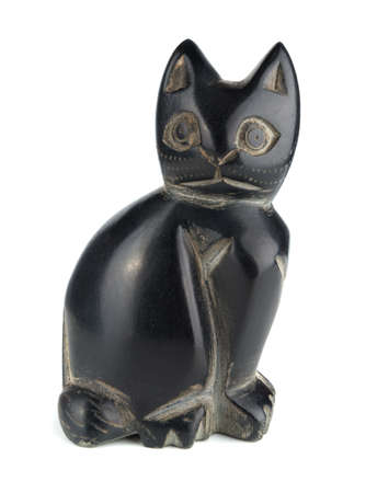 Obsidian statue cat isolated on a white background
