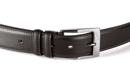 Black leather belt on a white background Stock Photo