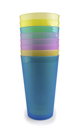 Stacked colorful plastic cups on a white background