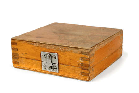 Old wooden box in white background