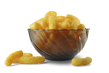 Cheese puffs in a vase on a white background Stock Photo