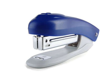 Blue stapler on a white background photo