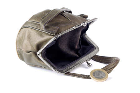 Brown purse and one euro isolated on a white background