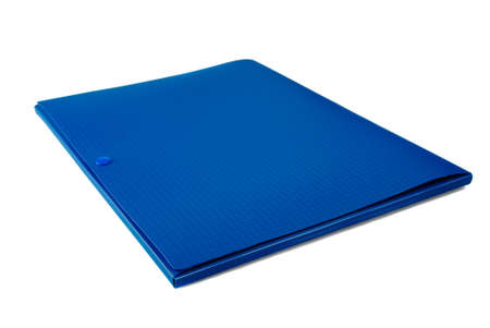 Blue plastic folder on a white background