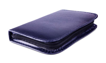 Dark blue pencil case isolated on a white background