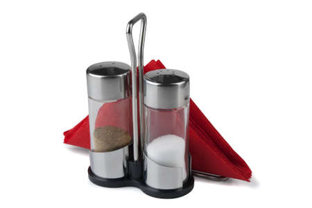 Salt, pepper and napkin holder on a white background