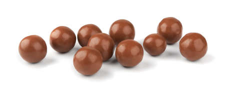 Chocolate balls on a white background