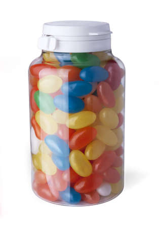 Jelly beans in bank on a white background Stock Photo