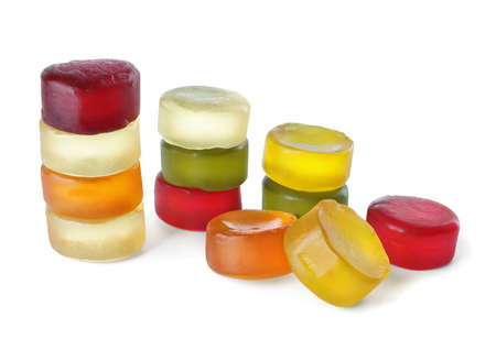 Group of colorful jelly candy on a white background