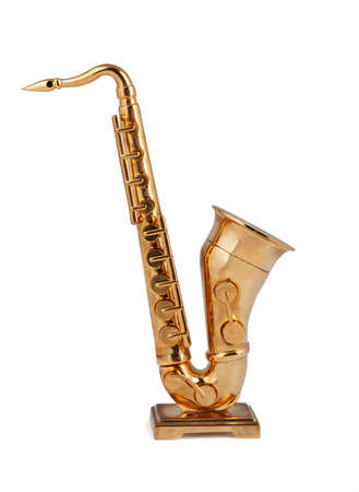 Saxophone figurine on a white background