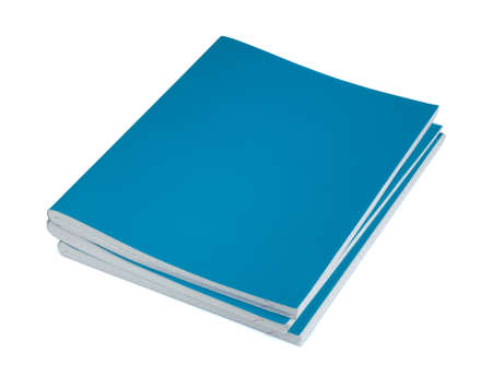 Three blue copybooks on a white background Stock Photo