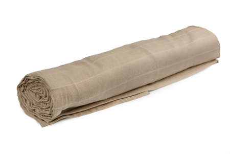 Rolled fabric on a white background Stock Photo