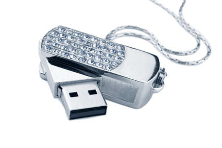 USB Flash Drive with rhinestones on a white background