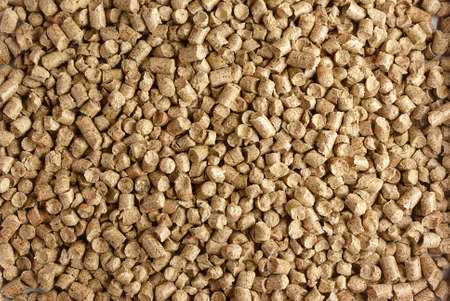 Close-up of small wood pellets photo