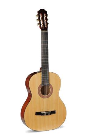 guitarra acustica: Guitarra acústica amarilla sobre un fondo blanco Foto de archivo