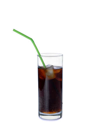 Glass of soda with a straw on a white background Stock Photo