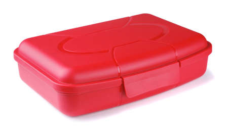 out to lunch: Red lunch box on a white background