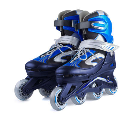 Pair of inline skates on a white background