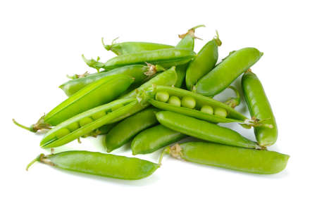 Pile of peas on a white background