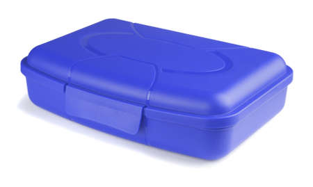 lunch box: Blue lunch box on a white background  Stock Photo