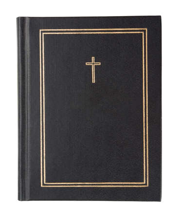 cover up: Black bible on a white background Stock Photo
