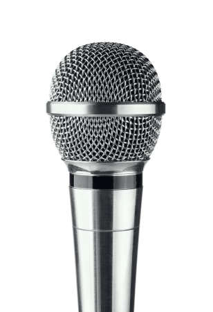 Gray microphone on a white background Stock Photo