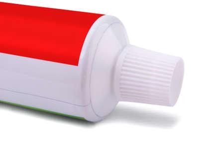 backcground: Toothpaste close-up on a white backcground Stock Photo