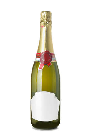 Bottle of champagne on a white background
