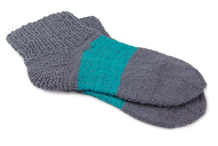 Wool socks on a white background photo