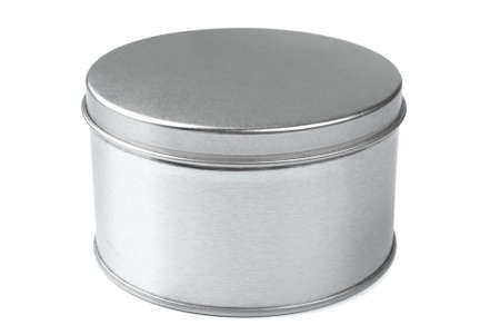 Metal round box on a white background