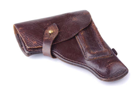 holster: Old brown holster on a white background