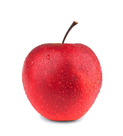 Red apple with droplet on a white background