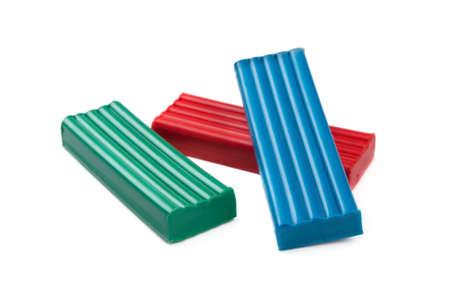 child s block: Plasticine blocks on a white background Stock Photo