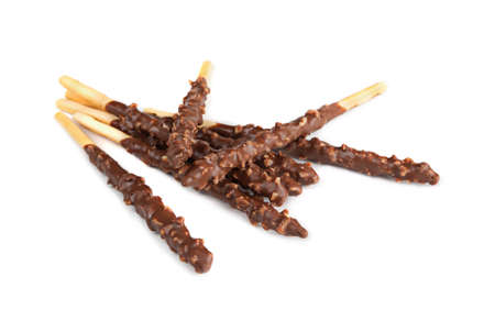 Stak chocolate sticks on a white background photo