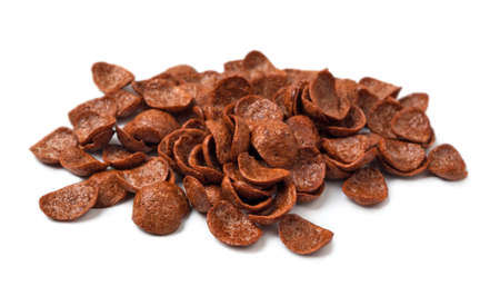 Group of chocolate flakes on a white background
