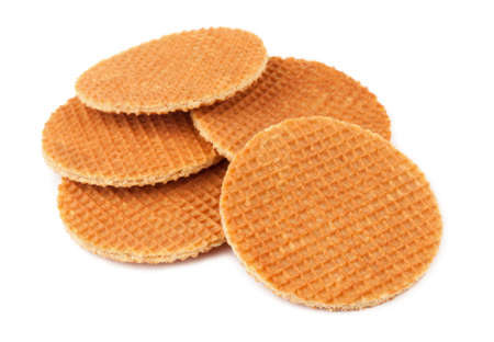 Dutch waffles on a white background photo